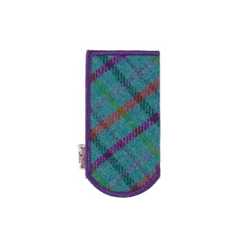 Clare O'Neill Glasses Case Turquoise Harris Tweed