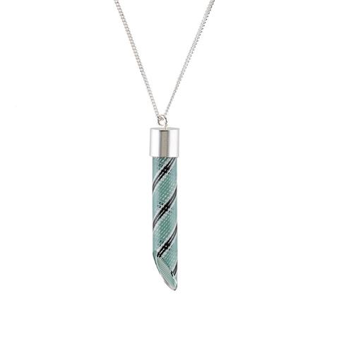 Turquoise, white and black glass pendant necklace