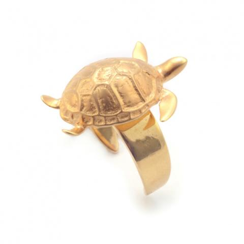 Turtle gold plated one size ring