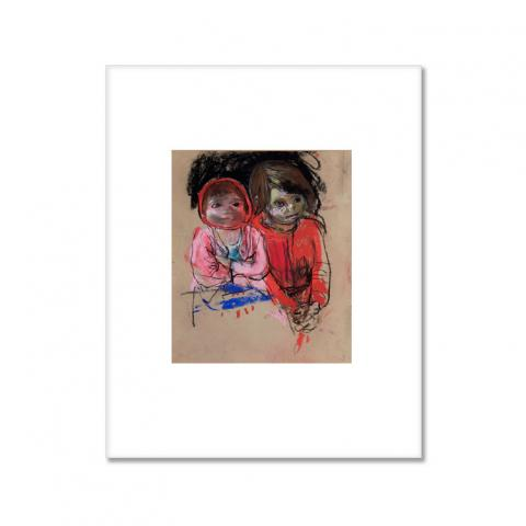 Two Glasgow Lassies by Joan Eardley small (25.5 x 20.5 cm) mounted print