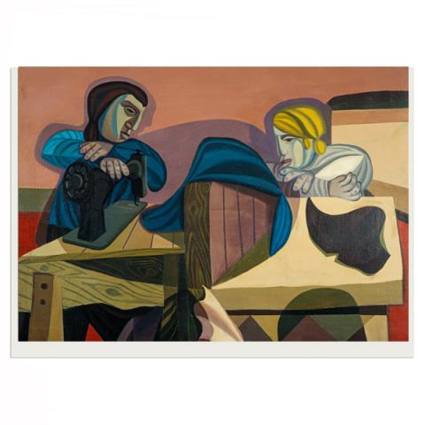 Two Women Sewing by Robert MacBryde greeting card