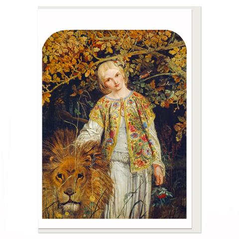 Una And The Lion William Bell Scott Greeting Card