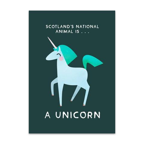 Unicorn Scotland's national animal greeting card