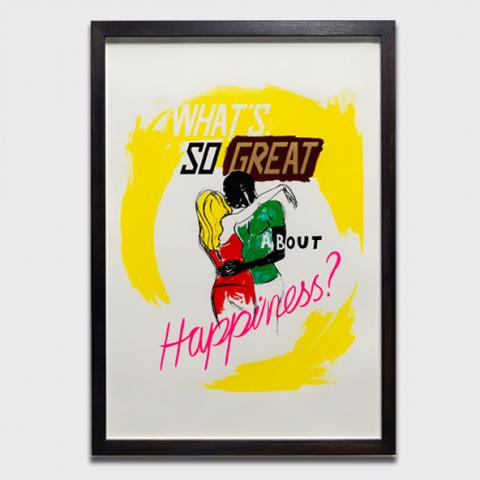 Untitled (What's so great about happiness?), 2014 by Charles Avery limited edition screen-print