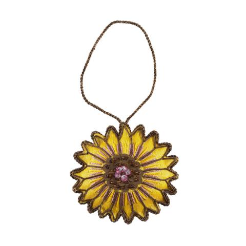 Van Gogh inspired sunflower beaded Christmas decoration