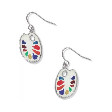 Watercolour palette drop earrings