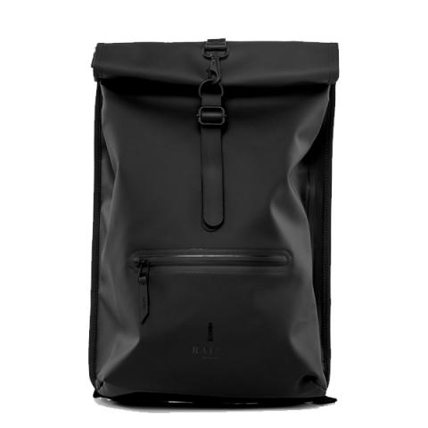 Waterproof black roll top backpack