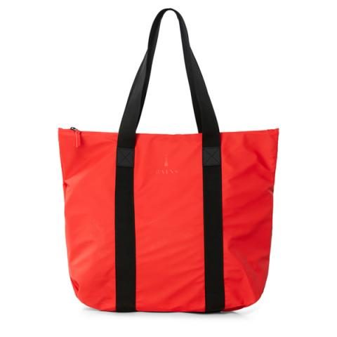 Waterproof bright red tote bag