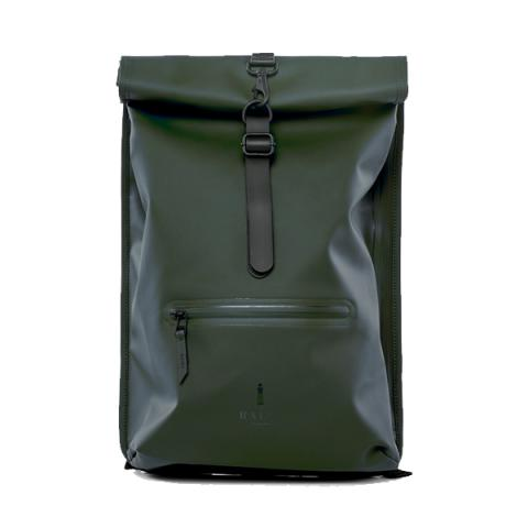 Waterproof green roll top backpack