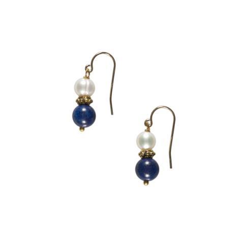 White pearl and lapis lazuli bead earrings