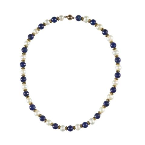 White pearl and lapis lazuli bead necklace