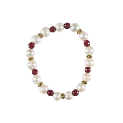 White pearl, brass and red jade bracelet