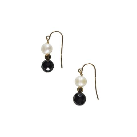 White pearl, onyx and brass bead earrings