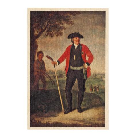 William Inglis, Surgeon and Captain of the Honourable Company of Edinburgh Golfers by David Allan wooden postcard