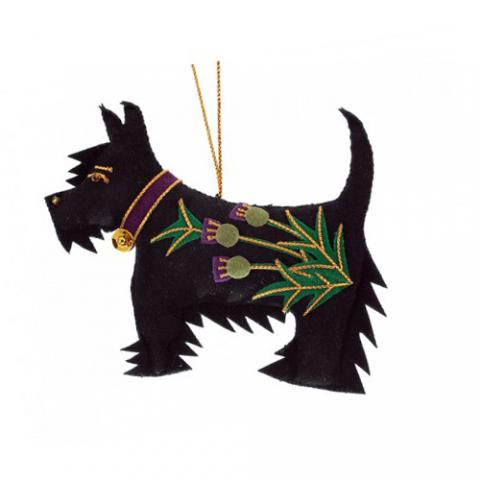 Scottie Dog Purple Thistle Christmas Decoration