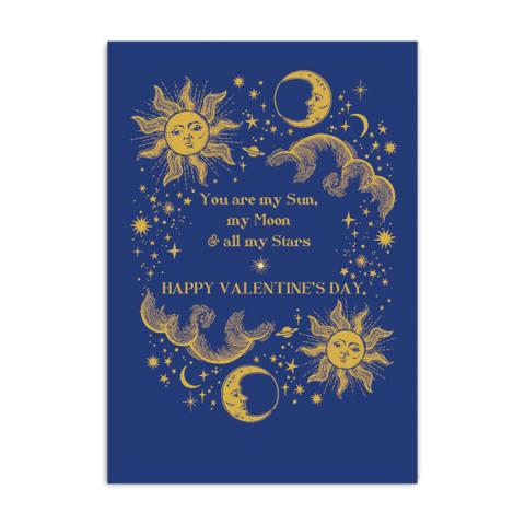 You are my sun moon and stars Valentine greeting card