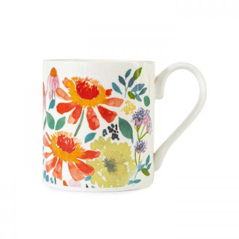 Zinnia abstract floral pattern mug