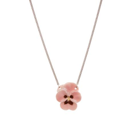 Pink pansy porcelain necklace