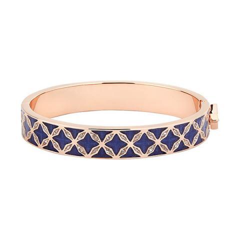 Hand enamelled navy-blue cuff bangle