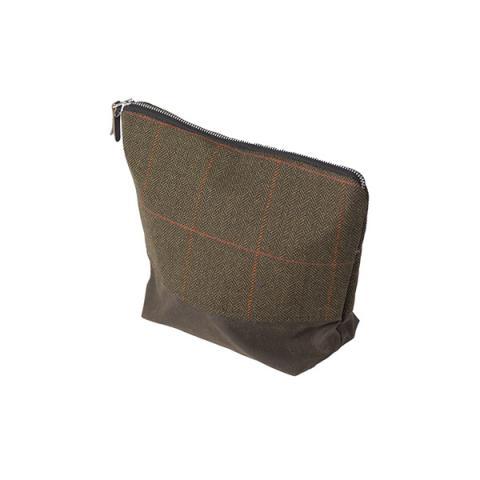 Dark brown Borders Tweed tall wash bag