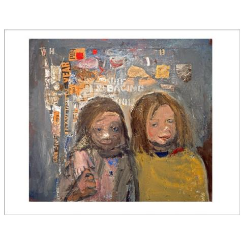Children and Chalked Wall 3 Joan Eardley Art Print
