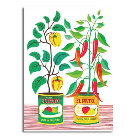 Chilli plants greeting card