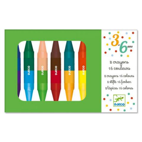 Djeco Box of 8 Twin Crayons