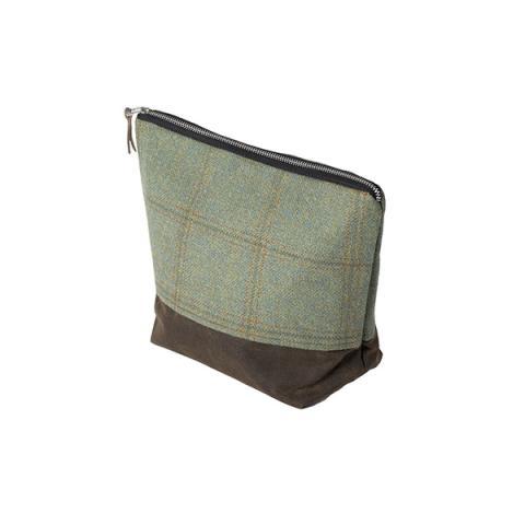 Green Borders Tweed tall wash bag