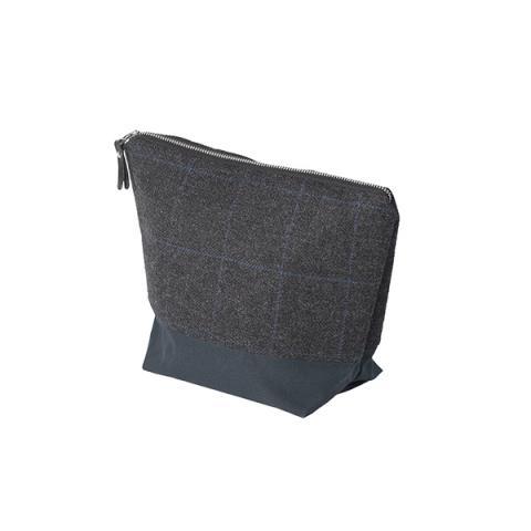Grey Borders Tweed tall wash bag