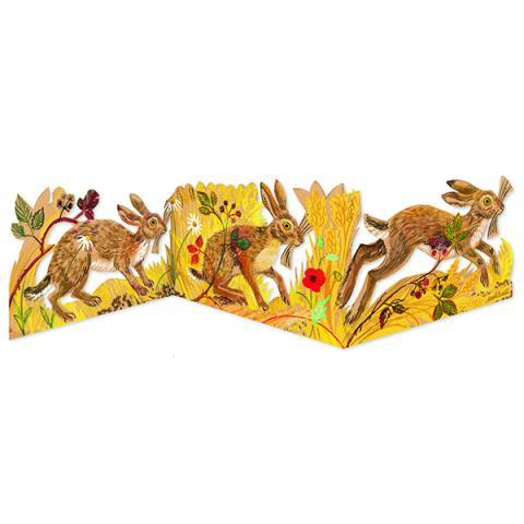 Hares by Mark Hearld folded greeting card