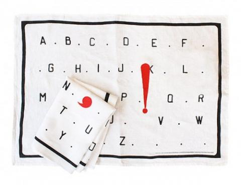 L'Alphabet Marcel Broodthaers Tea Towel