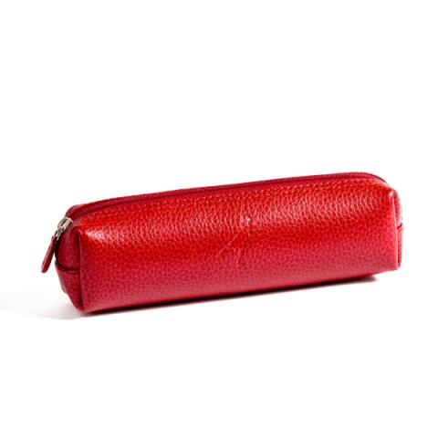Embossed red leather rectangular pencil case