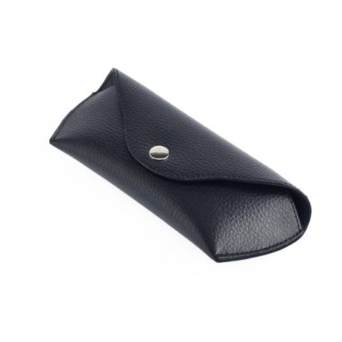 Embossed black leather glasses case