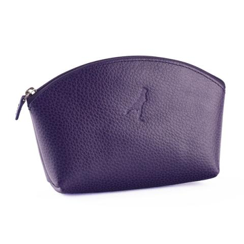 Embossed aubergine purple leather make up bag