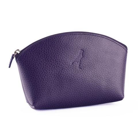 Leather Make Up Bag Aubergine