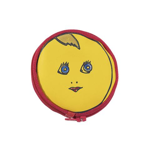 Moon face yellow and blue leather purse
