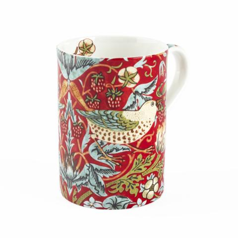 Royal Worcester Morris and Co Strawberry Thief Crimson Slate Mug