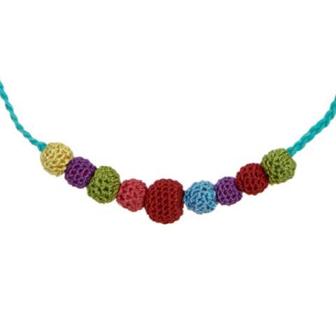 Crochet Necklace Blue Strand