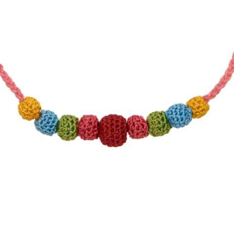 Crochet Necklace Dark Pink Strand