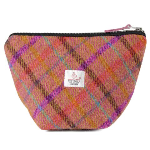 Orange checked Harris Tweed small cosmetic bag