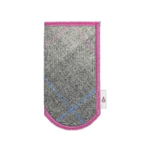 Pink trim and grey checked Harris Tweed glasses case