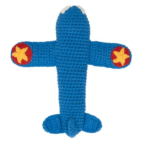 Crochet Rattle Blue Airplane