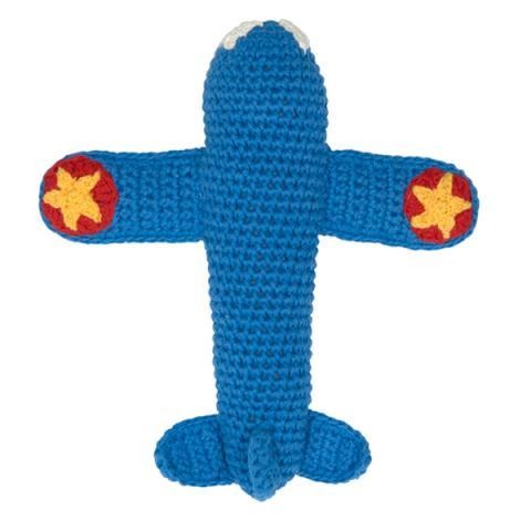 Crochet Rattle Blue Airplane