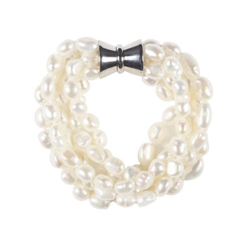 The Real Pearl 5 Strand White Pearl Bracelet
