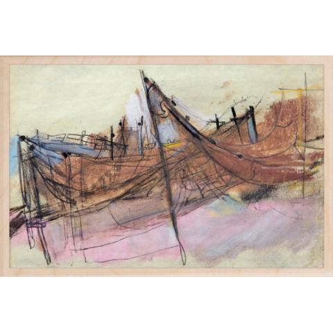 Study for Drying Salmon Nets Joan Eardley Wooden Postcard