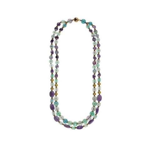2-strand amethyst, fluorite and brass necklace