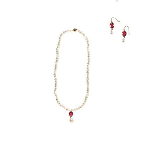 White pearl and red crystal drop necklace and earrings