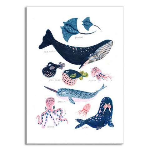 Sea creatures greeting card