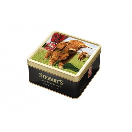 Stewart's Scotland Highland cow tin filled with luxury shortbread (125g)