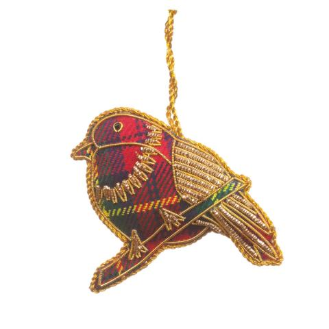 Tartan Sparkle Robin Christmas Decoration